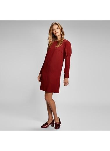 Vekem-Limited Edition Uzun Kollu Kayık Yaka Midi Elbise Bordo